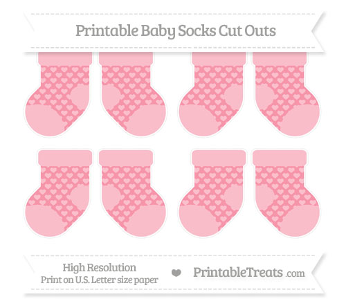 Free Pastel Pink Heart Pattern Small Baby Socks Cut Outs