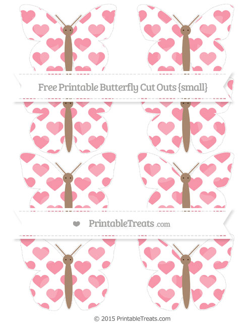 Free Pastel Pink Heart Pattern Small Butterfly Cut Outs