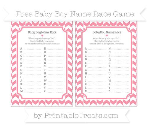 Free Pastel Pink Herringbone Pattern Baby Boy Name Race Game