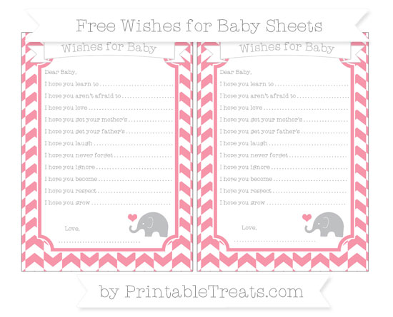 Free Pastel Pink Herringbone Pattern Baby Elephant Wishes for Baby Sheets