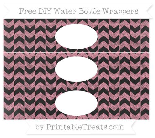 Free Pastel Pink Herringbone Pattern Chalk Style DIY Water Bottle Wrappers