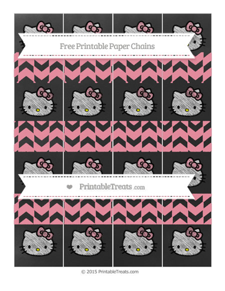 Free Pastel Pink Herringbone Pattern Chalk Style Hello Kitty Paper Chains