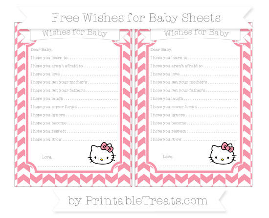 Free Pastel Pink Herringbone Pattern Hello Kitty Wishes for Baby Sheets