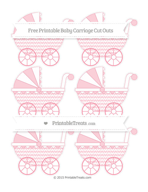 Free Pastel Pink Herringbone Pattern Small Baby Carriage Cut Outs
