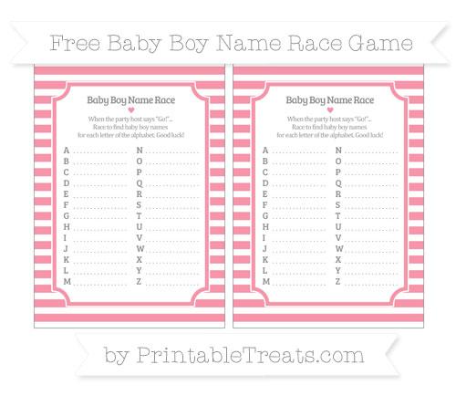 Free Pastel Pink Horizontal Striped Baby Boy Name Race Game