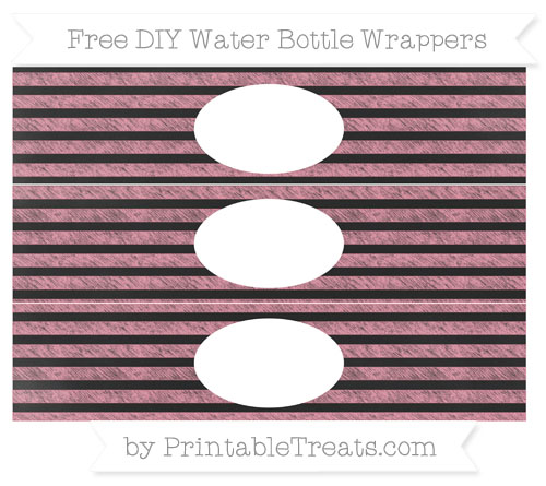 Free Pastel Pink Horizontal Striped Chalk Style DIY Water Bottle Wrappers