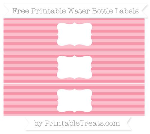 Free Pastel Pink Horizontal Striped Water Bottle Labels
