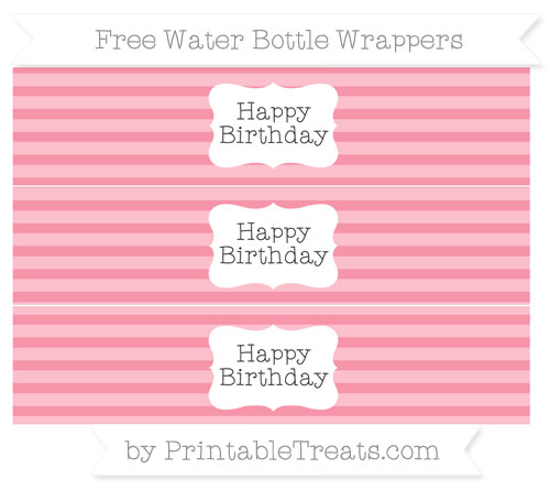 Free Pastel Pink Horizontal Striped Happy Birhtday Water Bottle Wrappers