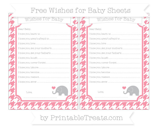 Free Pastel Pink Houndstooth Pattern Baby Elephant Wishes for Baby Sheets