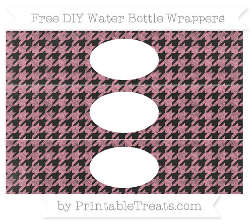 Free Pastel Pink Houndstooth Pattern Chalk Style DIY Water Bottle Wrappers