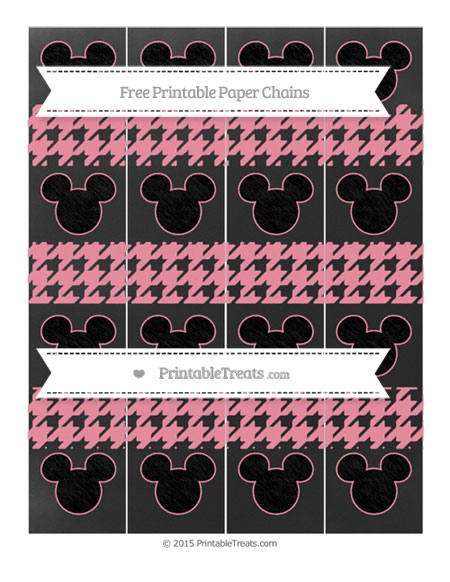 Free Pastel Pink Houndstooth Pattern Chalk Style Mickey Mouse Paper Chains
