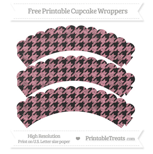 Free Pastel Pink Houndstooth Pattern Chalk Style Scalloped Cupcake Wrappers