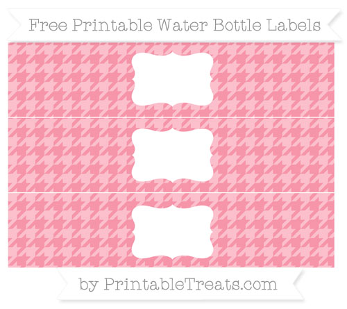 Free Pastel Pink Houndstooth Pattern Water Bottle Labels