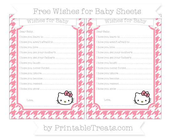 Free Pastel Pink Houndstooth Pattern Hello Kitty Wishes for Baby Sheets