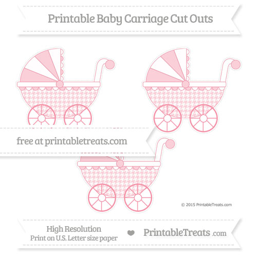 Free Pastel Pink Houndstooth Pattern Medium Baby Carriage Cut Outs