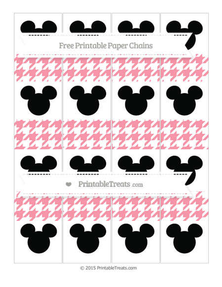 Free Pastel Pink Houndstooth Pattern Mickey Mouse Paper Chains