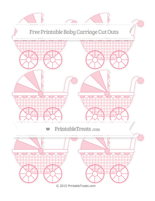 Free Pastel Pink Houndstooth Pattern Small Baby Carriage Cut Outs