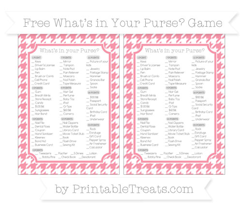 Free Pastel Pink Houndstooth Pattern What's in Your Purse Baby Shower Game