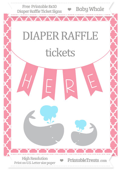 Free Pastel Pink Moroccan Tile Baby Whale 8x10 Diaper Raffle Ticket Sign