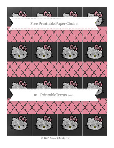 Free Pastel Pink Moroccan Tile Chalk Style Hello Kitty Paper Chains