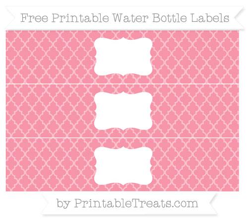 Free Pastel Pink Moroccan Tile Water Bottle Labels