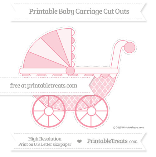 Free Pastel Pink Moroccan Tile Extra Large Baby Carriage Cut Outs