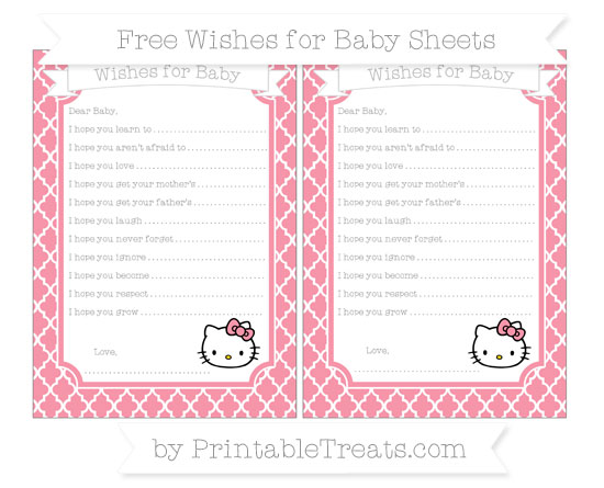Free Pastel Pink Moroccan Tile Hello Kitty Wishes for Baby Sheets