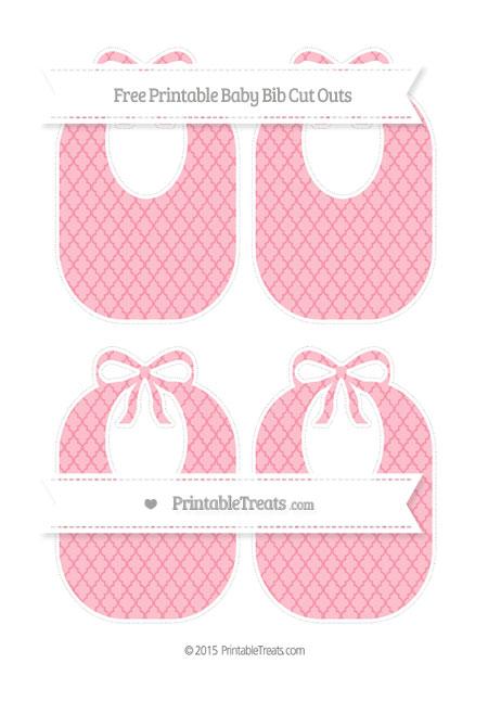 Free Pastel Pink Moroccan Tile Medium Baby Bib Cut Outs