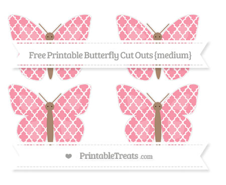 Free Pastel Pink Moroccan Tile Medium Butterfly Cut Outs