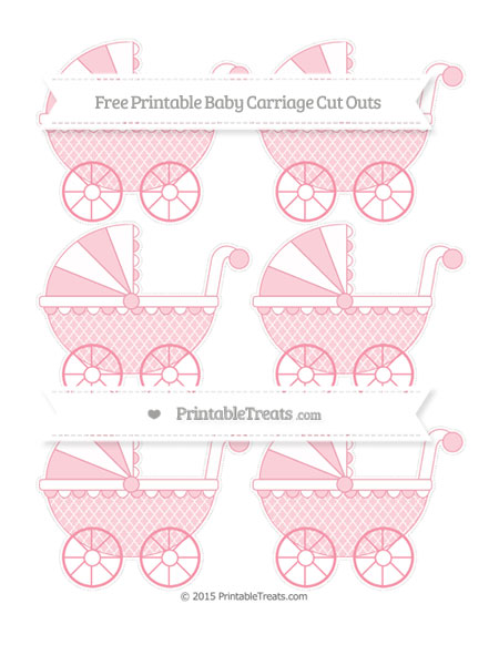 Free Pastel Pink Moroccan Tile Small Baby Carriage Cut Outs