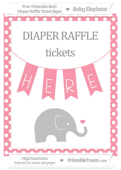 Free Pastel Pink Polka Dot Baby Elephant 8x10 Diaper Raffle Ticket Sign
