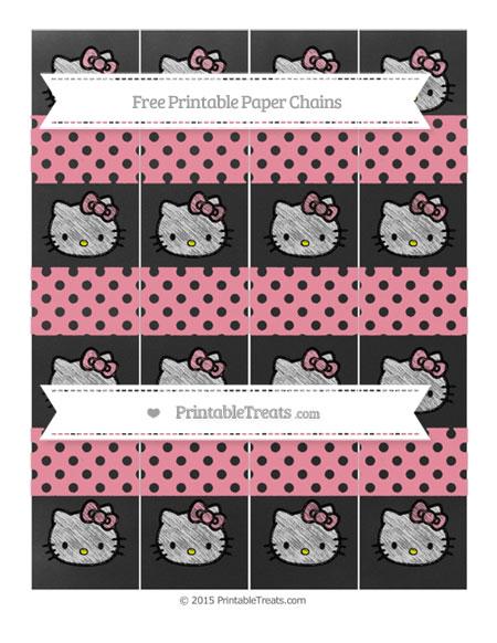 Free Pastel Pink Polka Dot Chalk Style Hello Kitty Paper Chains
