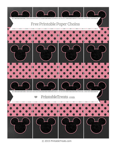 Free Pastel Pink Polka Dot Chalk Style Mickey Mouse Paper Chains
