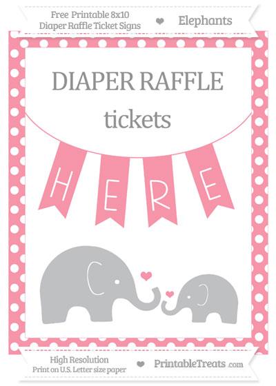 Free Pastel Pink Polka Dot Elephant 8x10 Diaper Raffle Ticket Sign