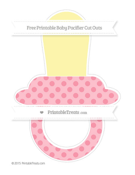 Free Pastel Pink Polka Dot Extra Large Baby Pacifier Cut Outs