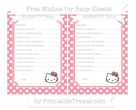 Free Pastel Pink Polka Dot Hello Kitty Wishes for Baby Sheets