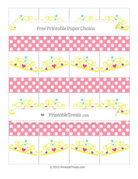 Free Pastel Pink Polka Dot Princess Tiara Paper Chains