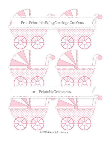 Free Pastel Pink Polka Dot Small Baby Carriage Cut Outs