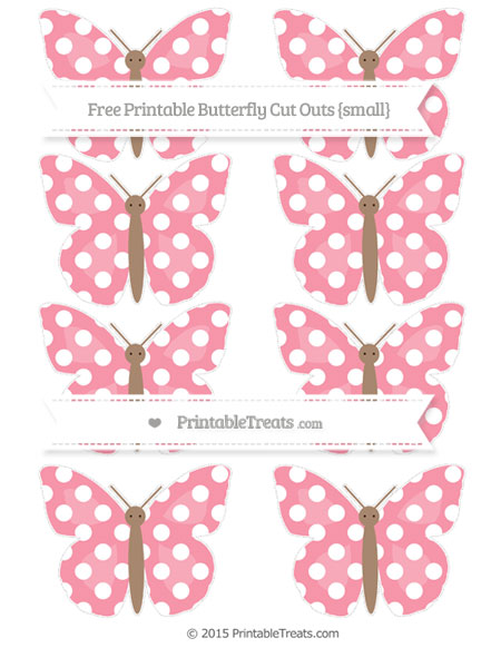 Free Pastel Pink Polka Dot Small Butterfly Cut Outs