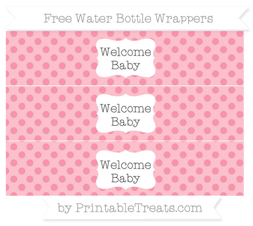 Free Pastel Pink Polka Dot Welcome Baby Water Bottle Wrappers