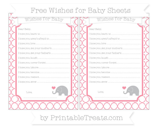 Free Pastel Pink Quatrefoil Pattern Baby Elephant Wishes for Baby Sheets