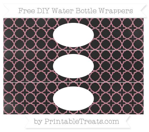Free Pastel Pink Quatrefoil Pattern Chalk Style DIY Water Bottle Wrappers