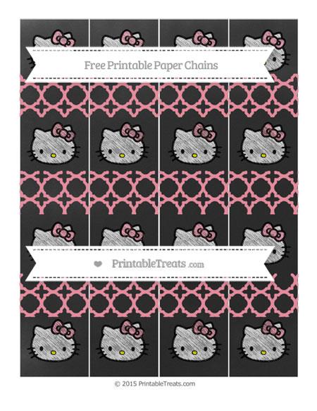 Free Pastel Pink Quatrefoil Pattern Chalk Style Hello Kitty Paper Chains