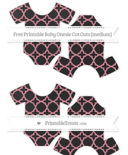 Free Pastel Pink Quatrefoil Pattern Chalk Style Medium Baby Onesie Cut Outs