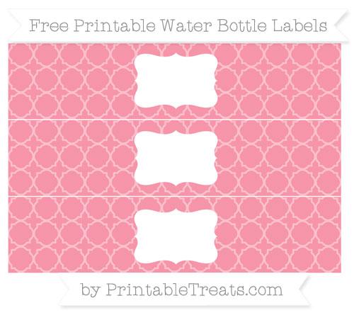 Free Pastel Pink Quatrefoil Pattern Water Bottle Labels
