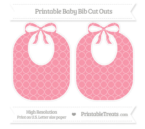 Free Pastel Pink Quatrefoil Pattern Large Baby Bib Cut Outs