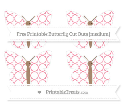 Free Pastel Pink Quatrefoil Pattern Medium Butterfly Cut Outs