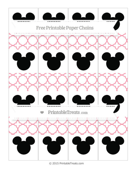 Free Pastel Pink Quatrefoil Pattern Mickey Mouse Paper Chains