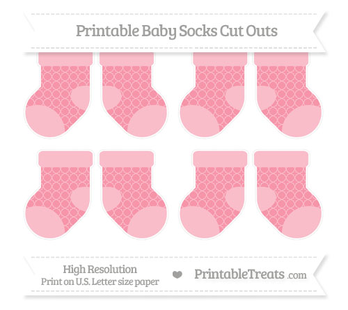 Free Pastel Pink Quatrefoil Pattern Small Baby Socks Cut Outs