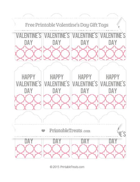 Free Pastel Pink Quatrefoil Pattern Valentine's Day Gift Tags